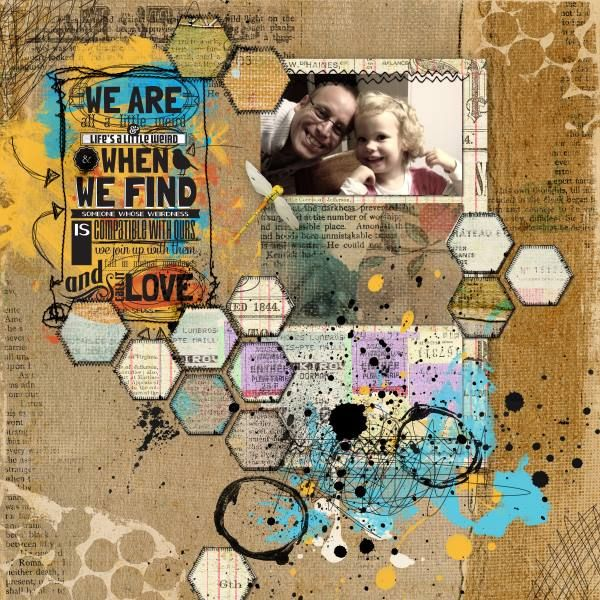 Friends - I've used Templates: Shaped Up v7 - Hex and Mended Hex by Amy Martin and Keep your heart strong, Free as a bird by Litte Butterfly Wings. Everything at the-lilypad.