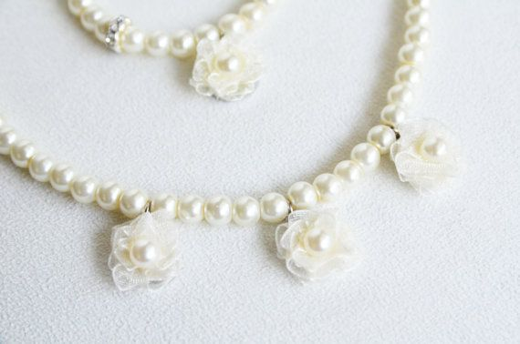 FLOWERGIRL JEWELRY SET / ivory or white glass pearl by sestras