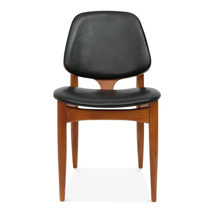 Cult Living Portman Wooden Dining Chair, Faux Leather Upholstered, Black