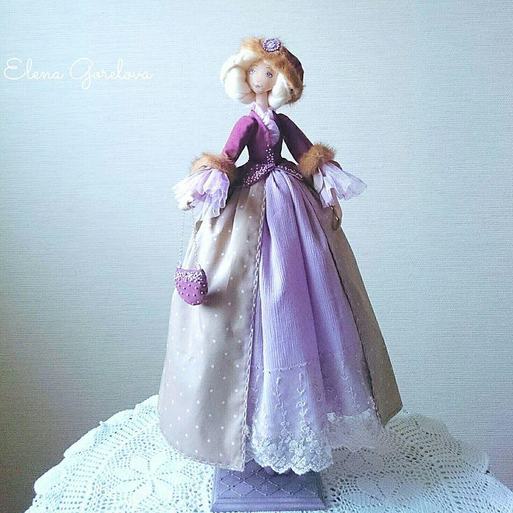 Текстильные куклы. Интерьерные куклы. Куклы Елены Гореловой. Сиреневый лиловый фиолетовый. Подарок