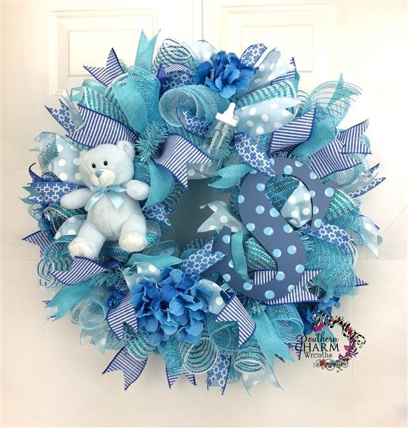 Baby Shower Ideas, Door Wreath for baby boy with monogram. What a great way to display that your bundle of joy has arrived. www.southerncharmwreaths.com