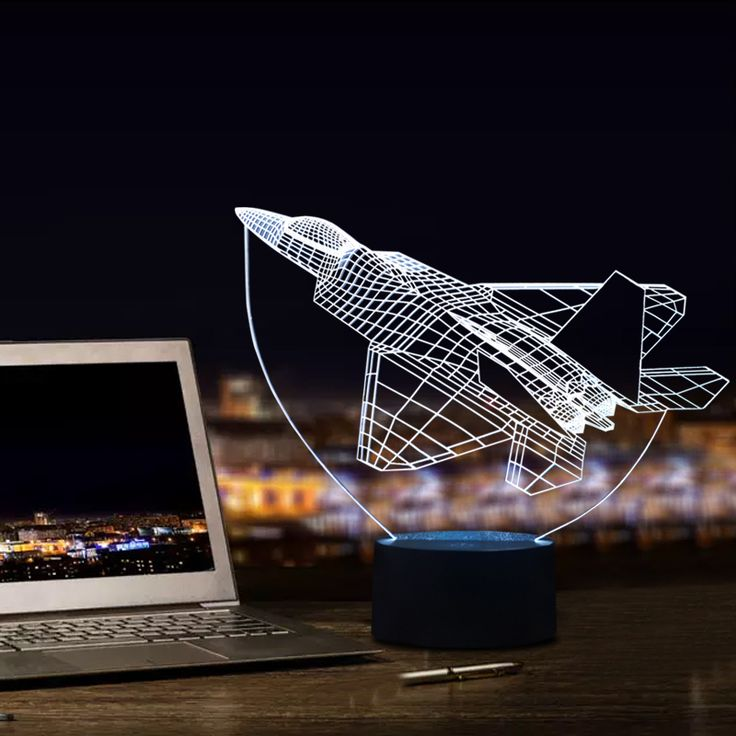 Amazing 3D Visual Lamp Airplane Shape with 7 Colors Touch Table Lamp for Bedroom Decorations Night Lamp