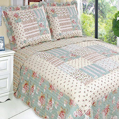 Country Cottage Floral Patchwork Quilt Coverlet Bedding Set Oversized  King/Cal King Finely Stitched Http