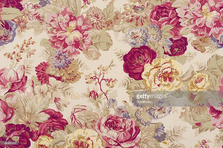 'Antique floral fabric with clusters of pink, red, yellow and lavender flowers on a beige background..Take a look at my LIGHTBOX of other related images.'