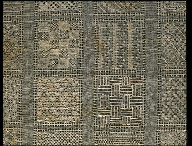 Sampler, made in Denmark, 1758    Cotton, embroidered with silk, with pulled thread work