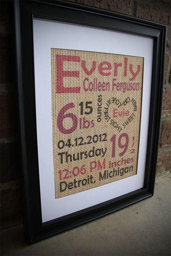 Burlap Baby Print  Color Baby Girl Birth Stats by BurlapPrintShop, $30.00