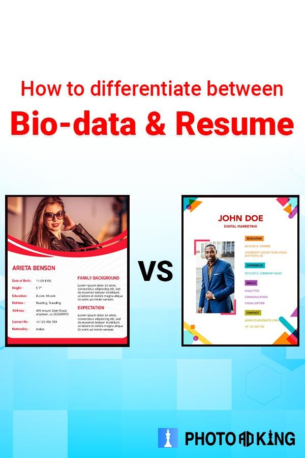 Check Out How To Differentiate Between Biodata Resume Photoadking Biodata Resume Resumemaker Biodatamaker Bio Data Resume Online Resume Builder