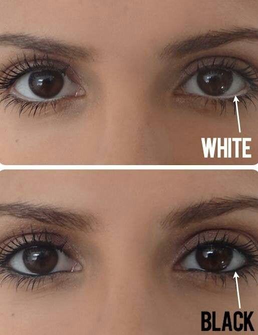 White eyeliner on the bottom lid makes the eye look bigger