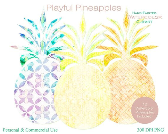 WATERCOLOR PINEAPPLES Clipart Commercial Use by ClipArtBrat