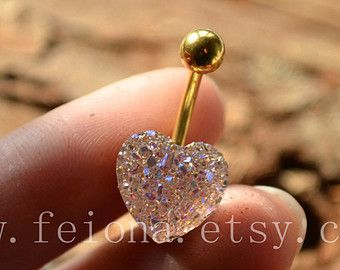 Clear and Pink Sparkling heart belly ring, heart blingbling belly button ring, Navel Piercing Ring Stud Piercing, belly jewelry