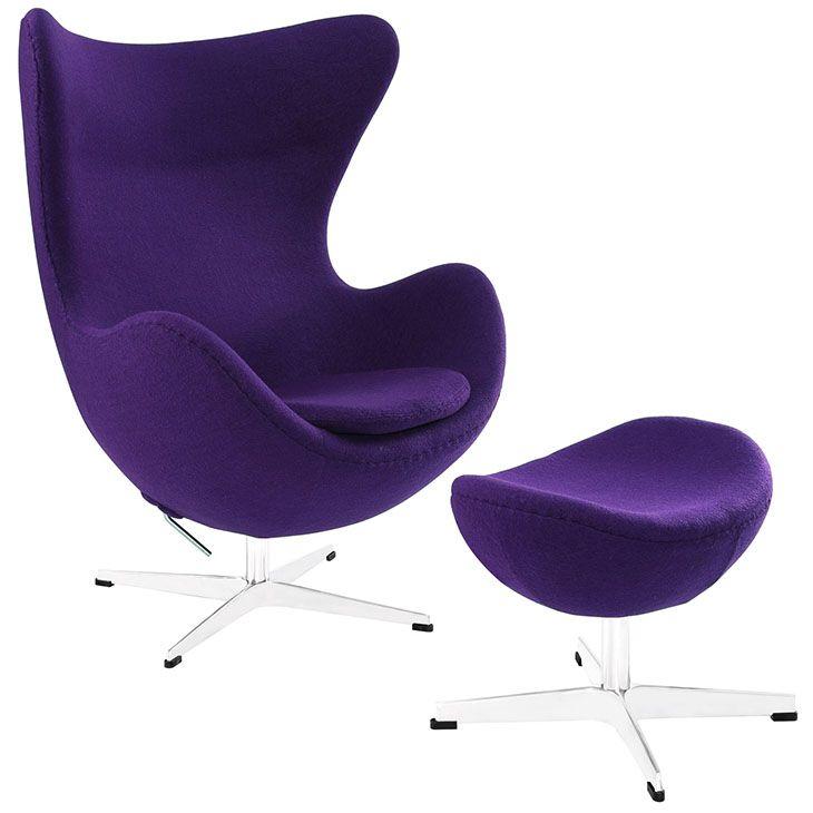 jacobsen style egg lounge chairand ottoman set in purple