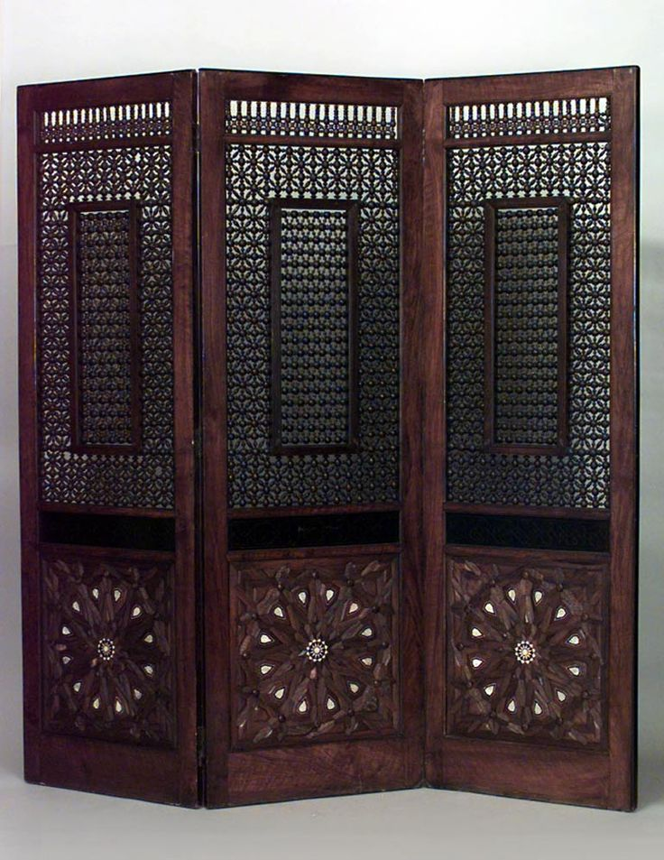 Middle Eastern Moorish/Syrian screen 3 fold teak