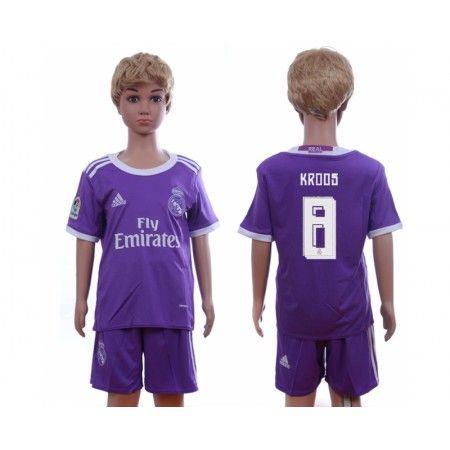 Real Madrid Trøje Børn 16-17 #Kroos 8 Udebanetrøje Kort ærmer,199,62KR,shirtshopservice@gmail.com