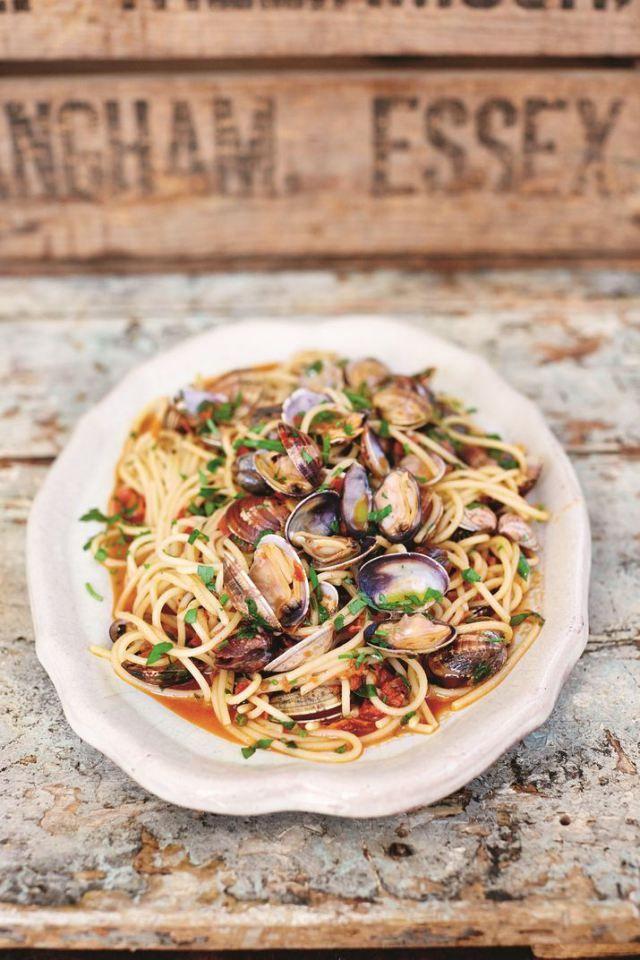 Blushing Spaghetti Vongole   |  Jamie Oliver's Comfort Food  |  David Loftus photo