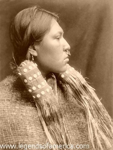 Hesquiat Woman, 1910The Hesquiat were a subdivision of the Nootka tribe. Living in numerous bands in the mountains of western Vancouver Island, Canada, they had a hunter-gatherer economy with extensive reliance upon fishing, including the hunting of whales. Photo by Edward S. Curtis, 1910.