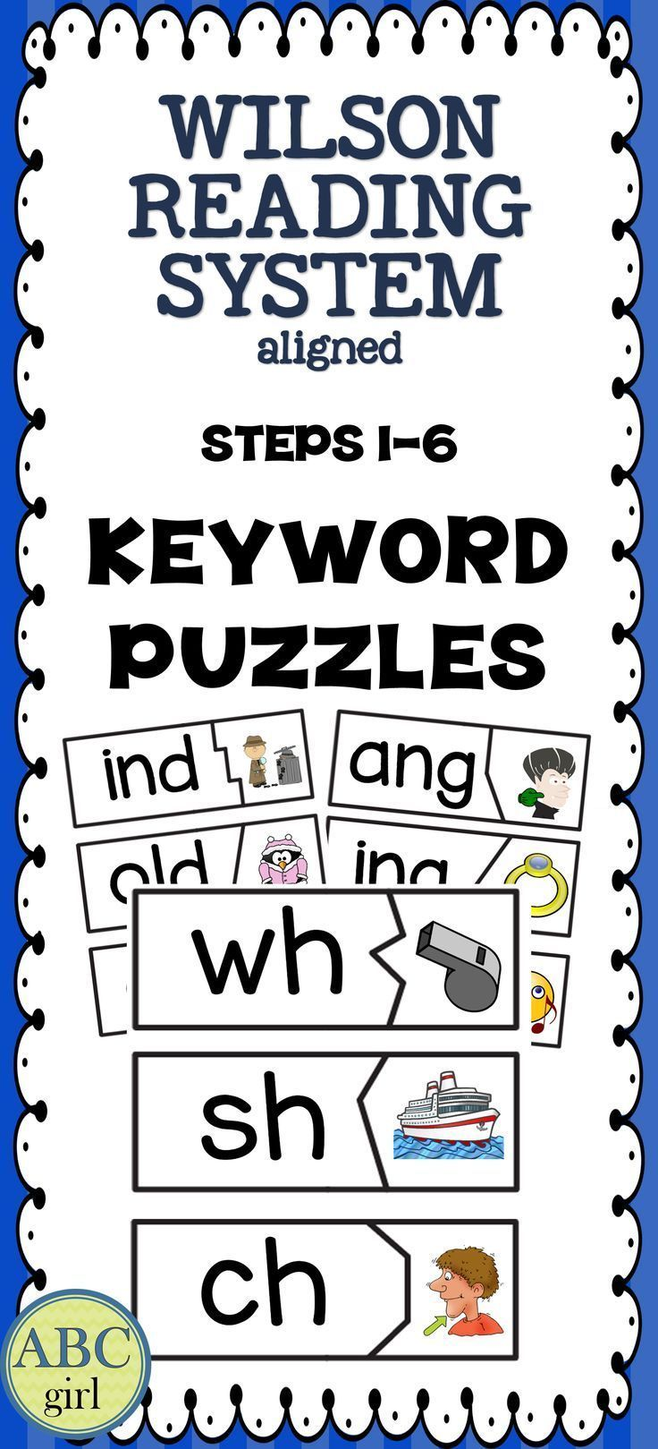 """Wilson Reading System®️️️️️️ Keyword Puzzles include all of the keywords for steps 1-6. Print, cut, laminate and play! There are three versions of A-Z: uppercase & lowercase, uppercase only, and lowercase only. Each puzzle is 3"""" by 8"""". Color and black and white versions are included. These puzzles are a perfect tool to reinforce the letters, keywords, and sounds that are being taught during your Wilson®️️️️️️ lessons!"""