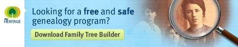 Family Tree Builder free and safe from My Heritage. I use this as one of my programs and find it good