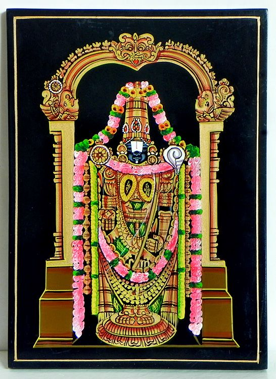 Lord Venkateshwara (Nirmal Paintings on Hardboard)