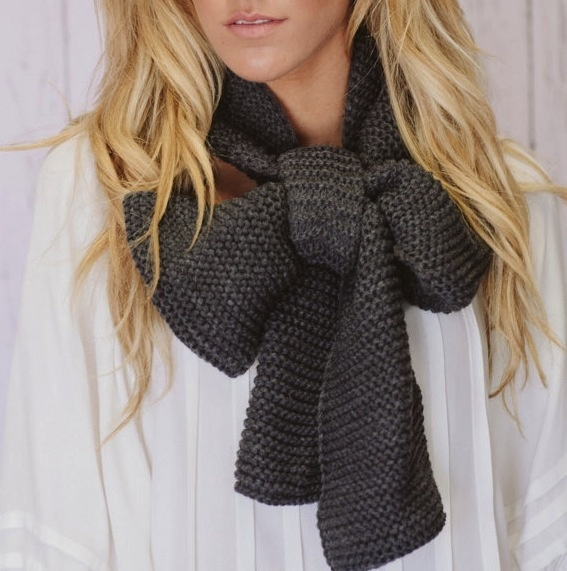 knitted bow scarf.