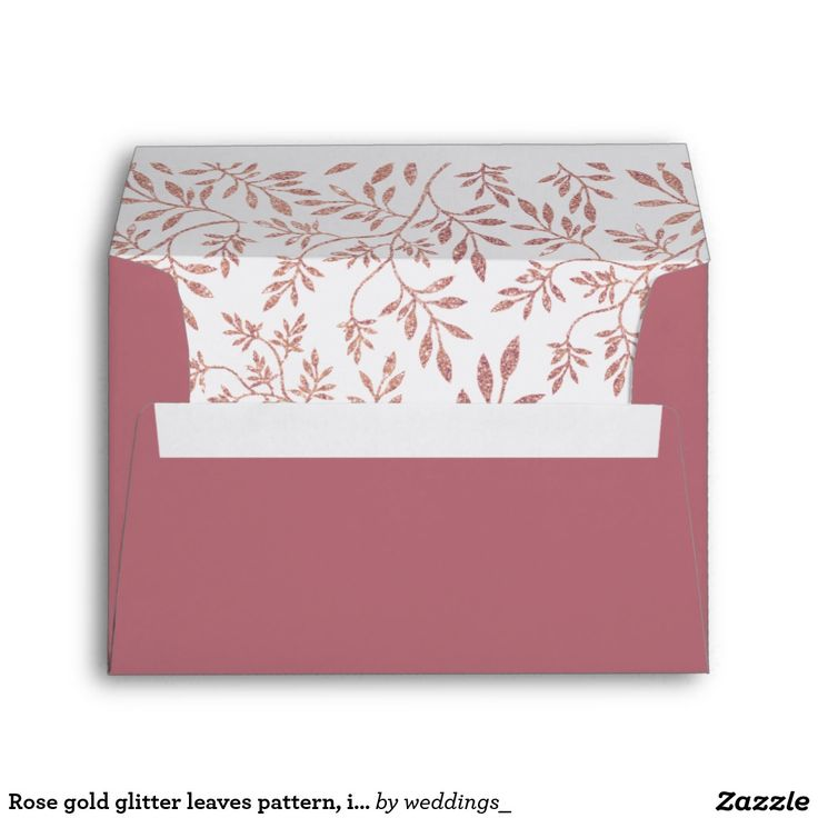 #Rosegold glitter leaves pattern, initials #wedding #envelope