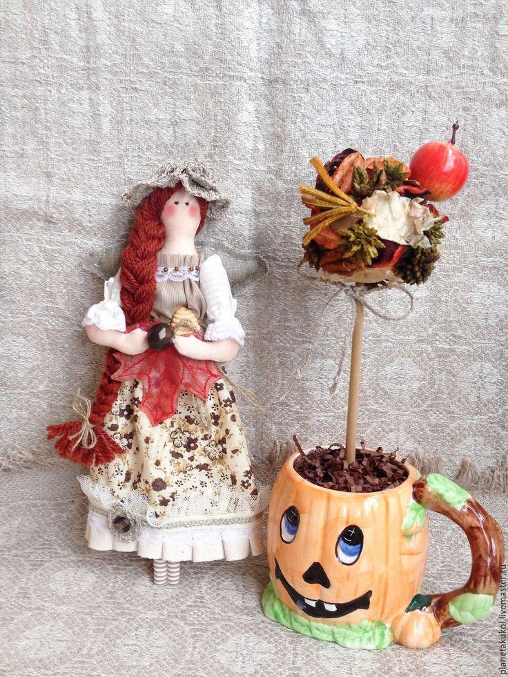 Купить кукла-оберег ангел каштановая осень - оберег для дома, ангел текстильный…