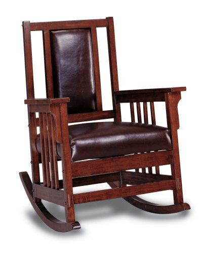 Coaster Mission Style Rocking Wood And Leather Chair Rocker Coaster Home  Furnishings Http://