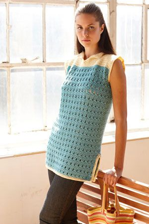 Up to 2x. Beach Cover Up. This beach cover vp, crocheted with cool Cotton-Ease®, is perfect to layer over a swimsuit or wear with jeans and a tank top this summer.