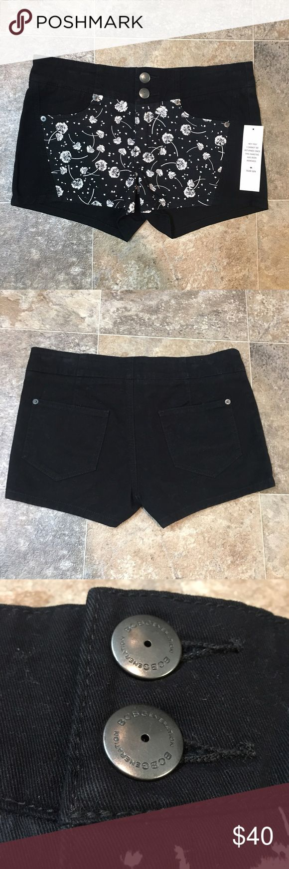 BCBGeneration shorts Adorable BCBGeneration shorts. They are black shorts with dandelion fluffs on the front. They have 2 buttons in the front. They are brand new with the tags still attached. They're a size 27.   🌸BUNDLE AND SAVE  🌸NO TRADES 🌸REASONABLE OFFERS CONSIDERED  🌸FEEL FREE TO ASK QUESTIONS 🌸I DO NOT MODEL BCBGeneration Shorts