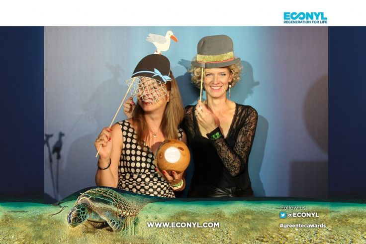 Fairphone team with their prize for Accelerator Startup: Bibi Bleekemolen & Tessa Wernink - ECONYL® at the GreenTec Awards 2015 in Berlin. The Green Carpet was made by Vorwerk using ECONYL® regenerated yarn coming from fishing nets, old carpets and other pre-consumer waste. At the event we had also a photo booth with funny props inspired by our regeneration of carpets, nets and by the marine world we are fighting to save. #ethical #fashion and #design#sustainability