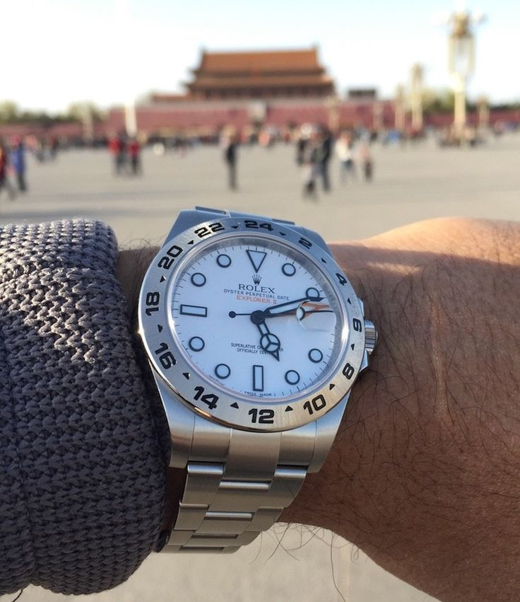 "Rolex Explorer II 216520 Watch Review - by Michael Maximilien - see & read more on aBlogtoWatch.com (bonus points if you can name the famous spot this picture was taken) ""The Rolex Explorer II, reference 216520, along with the Submariner, GMT Master, and the Datejust, constitute Rolex's most popular watches. While the Explorer model, like the others, is a child of the late 1950s; unlike the others, it has two current models, both popular, but also quite different..."""
