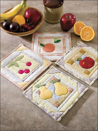 Quilting - Feel-Good Patterns - Fresh Fruit - Quilted Pot Holder Patterns