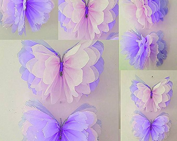 Four 14″ girls birthday party decorations tissue paper wall butterflys bedroom wedding sweet 16 baby shower wall hangings