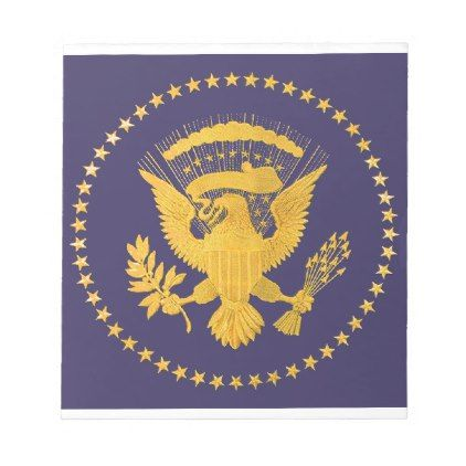 Gold Presidential Seal on Blue Ground Notepad - gold gifts golden customize diy