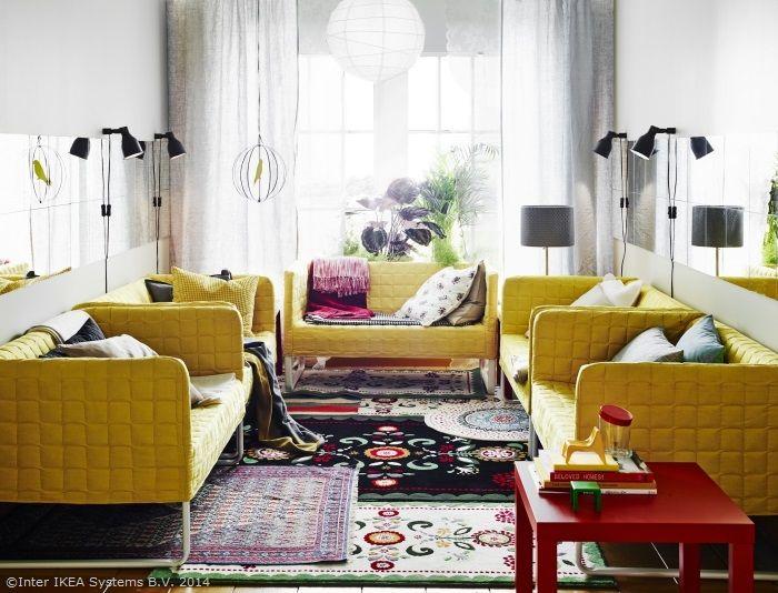 Oricât de mică ar fi sufrageria, e nevoie de loc pentru toți prietenii. Te-ai gândit să adaugi mai multe canapele mai mici? www.IKEA.ro/canapea_KNOPPARP