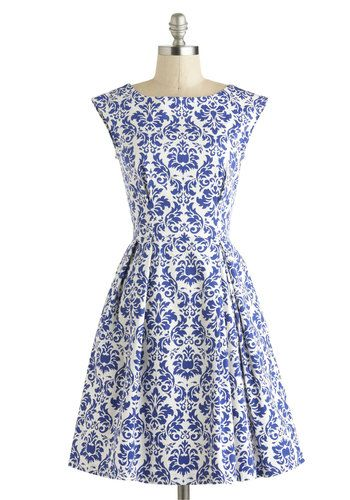 blue and white patterned dress pretty but maybe too busy and not vintage enough $75 Be Outside Dress in Delft - French / Victorian, Cotton, Mid-length, Blue, White, Print, Exposed zipper, Pleats, Party, A-line, Cap Sleeves, Boat, Pockets