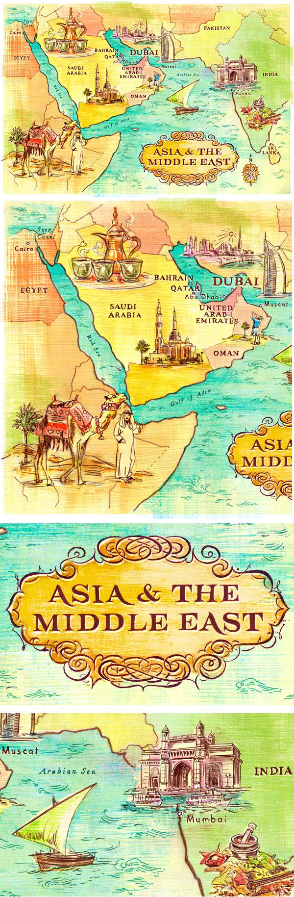 Asia The Middle East Ilrative Map Jacqui Oakley Ilration