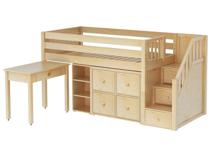 Mini Loft Bed Part - 35: Loft Bed With Desk And Stairs | Maxtrix Great 4 Low Loft Storage Bed With  Desk