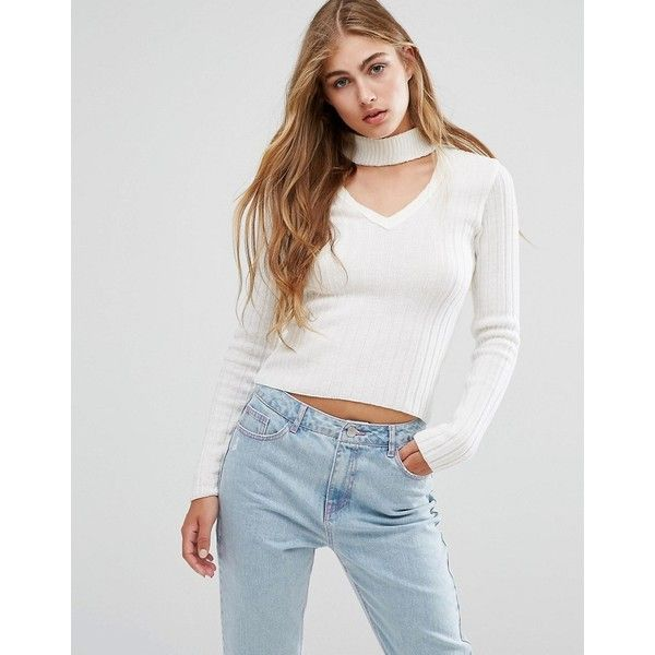 Missguided Neck Tab Skinny Rib Jumper (960 PHP) ❤ liked on Polyvore featuring tops, sweaters, cream, ribbed v neck sweater, v neck strappy top, ribbed top, stretch top and ribbed sweater