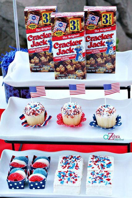 Red, white, and blue desserts can be used for French themed party.