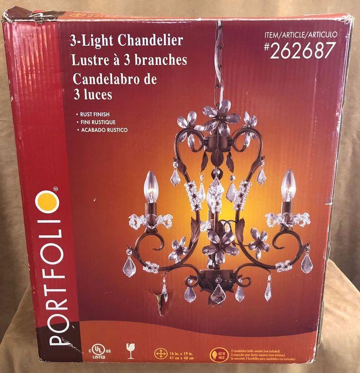 "16"" Portfolio Lighting 3 Light chandelier rust finish fixture 262687 crystal new #Portfolio #Contemporary"