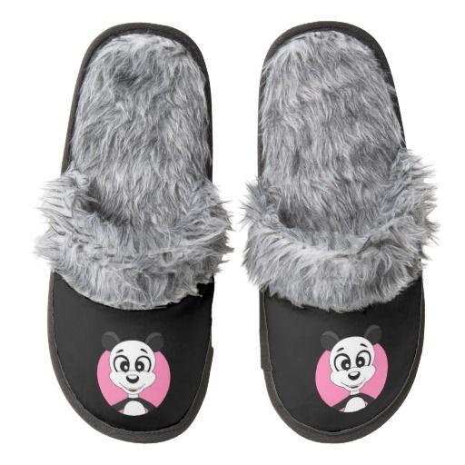 Panda cartoon pair of fuzzy slippers