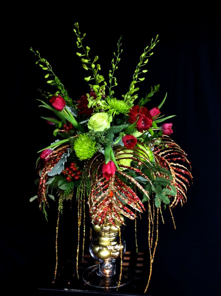 Christmas table decor holiday centerpieces christmas Christmas orchid arrangements