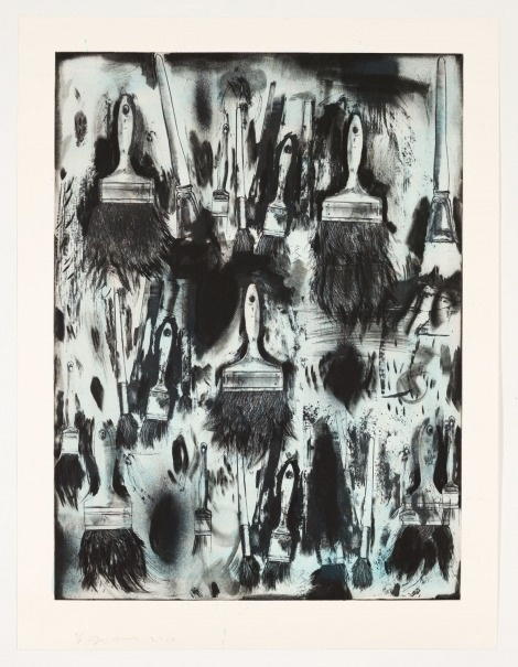 Jim Dine - Cobalt Teal Paint Brushes  Lithography and copperplate etching