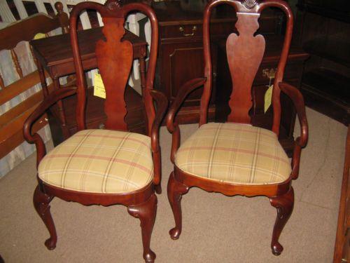 VINTAGE ETHAN ALLEN Georgian Court 205 CHERRY Dining Chairs PAIR Queen Anne