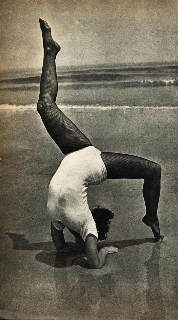 vintage beach yoga