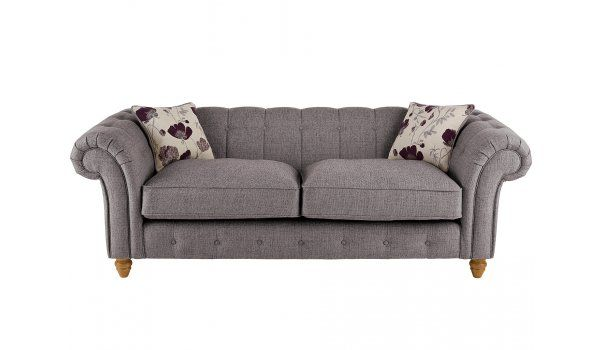 Chesterton Large Sofa Chesterfield in Riding Fabric - Silver