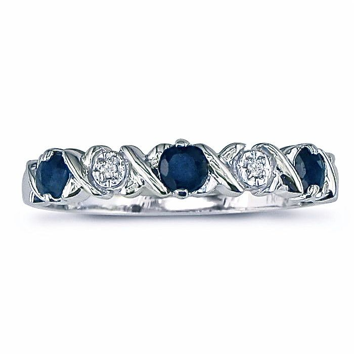 10k White Gold Sapphire And Diamond Xo Band Etsy Diamond Bands Sapphire And Diamond Band White Gold Rings