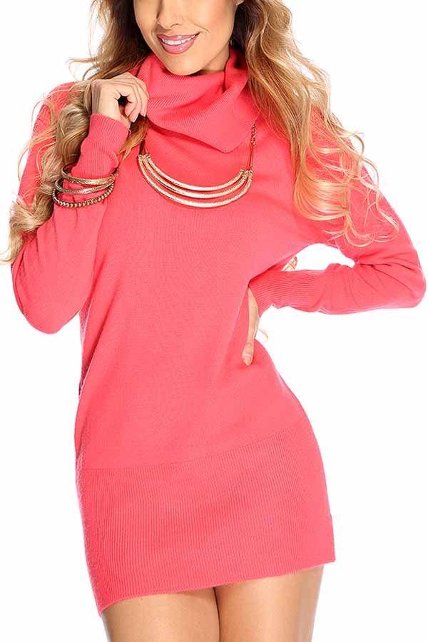Watermelon Turtle Neck Long Sleeve Sweater Dress #Watermelon #Dress #maykool