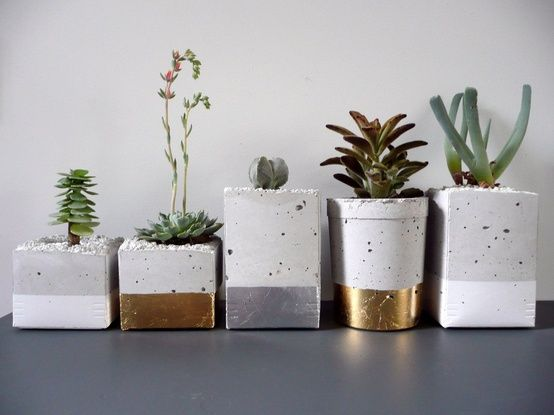 Paint dipped concrete planters