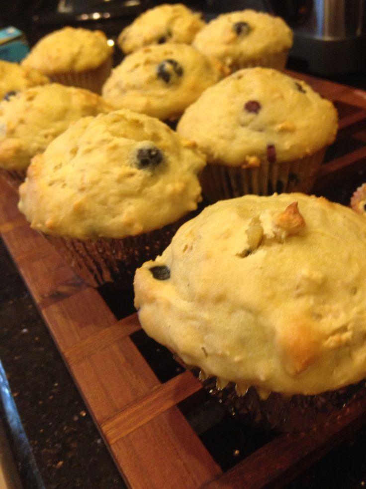 Greek yogurt blueberry power muffins!! I got the recipe from - https://domesticatedacademic.wordpress.com/2012/07/31/power-muffins-blueberryoatmealyogurtpower/